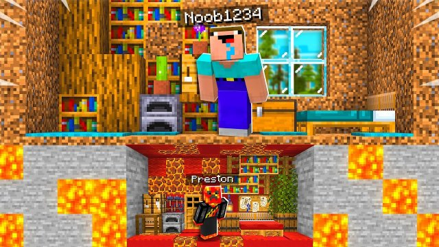 I Built a TINY House Under Noob1234's Minecraft House!