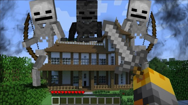 GIANT MUTANT SKELETON APPEAR IN MY HOUSE MINECRAFT!! Minecraft Mods